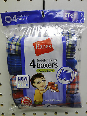 4pr Toddler Boys Hanes Plaid Boxer Shorts Underwear Sizes 2T-3T or 4T