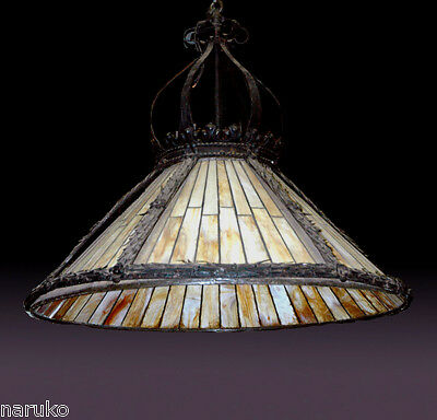"EF CALDWELL 40"" Diam LEADED GLASS BEST 12 SOCKET HANGING CHANDELIER LAMP SHADE"