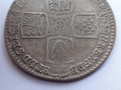 George II Shilling 1745 nVF 1/- condition English silver shilling coin  663