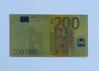 Colourised 200 EURO 24K Gold Plated Banknote (only banknote)