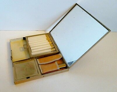 Volupte Carryall Sophisticase Compact Cigarette Powder Lipstick Money c 1946