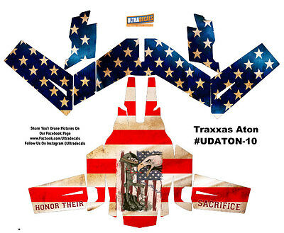American Flag Traxxas Aton Plus Body Wrap Decal Skin Sticker Canopy USA Ultradec