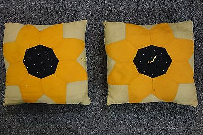 "1920's Patchwork Pillows- 2- SUNFLOWERS- 9""x10""-Quilted Backs - CHARMING -SALE"