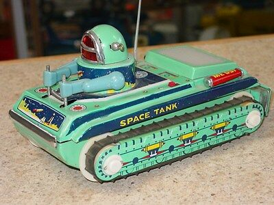 Vintage Japan Tin Space Tank ,Toy Vehicle, Battery Operated
