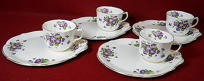"""OLD ROYAL England VIOLETS OLR30 pattern Snack Plate & Cup Set of Four (4) 8-3/8"""""""