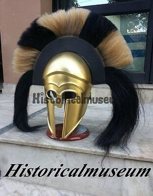 Greek Corinthian Armor Helmet W/long Brown And Black Plume Medieval Costume Fgr5
