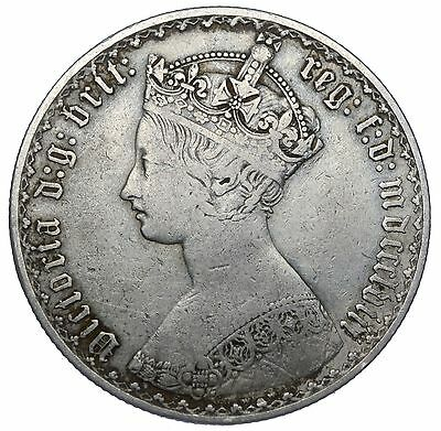 1858 Gothic Florin - Victoria British Silver Coin - Nice