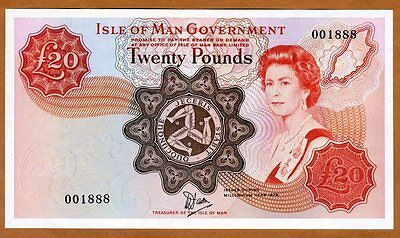 Isle of Man, 20 pound, ND (1979) P-32 QEII aUNC   Millennium, only 5000 printed
