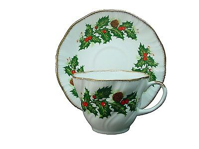 ROSINA china YULETIDE pattern CUP & SAUCER Set Cotswold Shape 2-1/2""