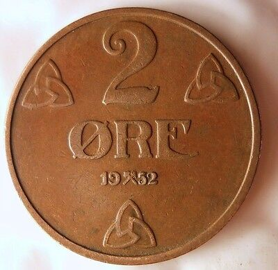 1952 NORWAY 2 ORE - Excellent Vintage Coin - FREE SHIPPING - Norway Bin #4