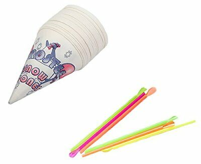 Perfect Stix Snow Cone-Straws- 100 Snow Cone Cups and Assorted Neon Straws (100