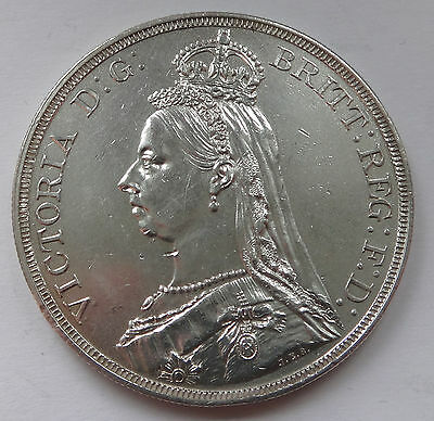 British Queen Victoria 1887 - gEF cleaned - silver Jubilee head CROWN - 1033