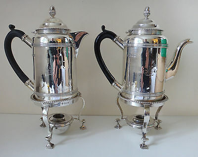Pair solid Silver Coffee Biggins / Pots 52.7 tr oz / 1640 grams London 1905/6