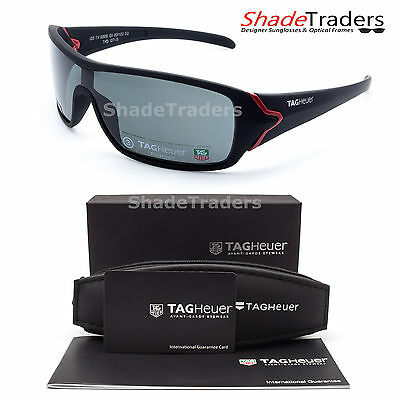 TAG Heuer RACER SUNGLASSES BLACK/ RED POLARIZED GREY RACING CYCLING 9206 131 66