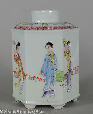 Chinese Hexagonal Porcelain Tea Caddy Beautiful Woman Famille Rose Enamels