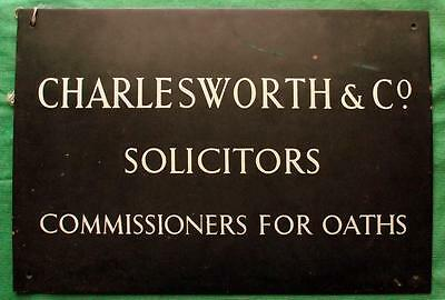 "c1900 Brass Lawyer Solicitor Antique Sign Plaque Charlesworth & Co 18"" X 12"" 3KG"