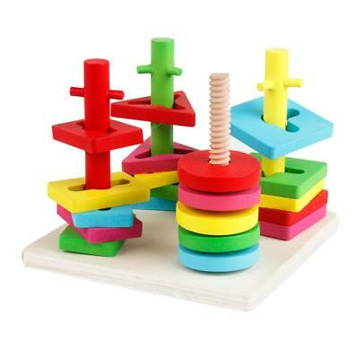 Colorful Wooden Shape Sorter Stacker Puzzle Game 4 Pillars Kids Chilren Toy