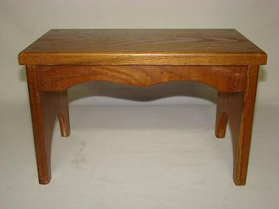Vintage Small Wood Foot Stool Ottoman Hassock Bench