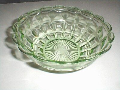 Jeannette Green Depression Glass BLOCK PANEL-WAFFLE Master Berry Bowl/s