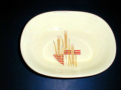 W S George Cavitt Shaw Yellow Wheat Red Lines Oval Vegetable Bowl