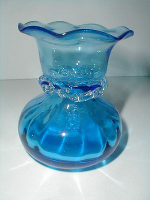 Pilgrim Glass Hand Blown Scalloped Blue Bud Vase w Clear Rigaree - No Crackle