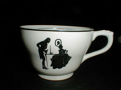 Harker Black Trim Silhouette COLONIAL LADY Footed Cup/Teacup