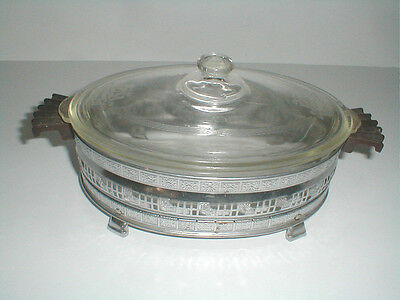 McKee Glasbake Clear Glass SHIELD Poppy Oval Casserole w Metal Holder/Carrier