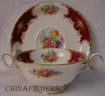SHELLEY china DUCHESS RED pattern Cream Soup & Saucer