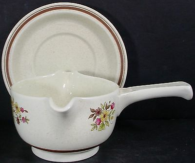ROYAL DOULTON china GAIETY LS1014 pattern GRAVY BOAT 2-pc stick handle