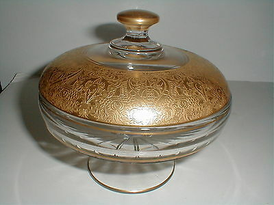 Duncan & Miller Glass #95 Gold Encrusted Sweetmeat/Candy Dish w Lid