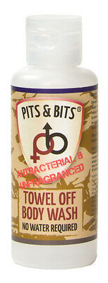Pits & Bits Waterless Body Wash Towel Off Unfragranced Antibacterial 65Ml