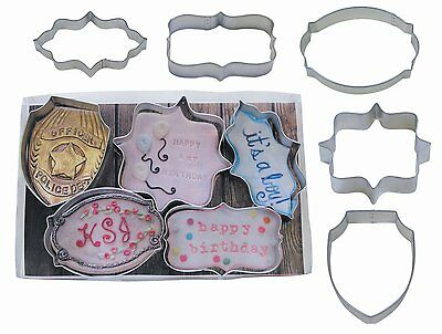 Plaque Set Boxed Gift Set Cookie Cutters 5 pc. Wedding Shaped Shield Oval Fancy