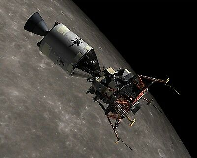 Apollo 11 CSM & LM Docked Over Moon Space Vehicle NASA Large Photo