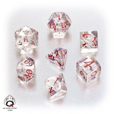 Q-workshop 7 Dice Set of Translucent & Red Classic SCLE16