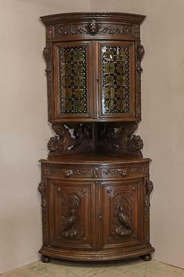 Antique French Hunt Corner Cabinet 19th Century BEAUTIFUL Carved Model