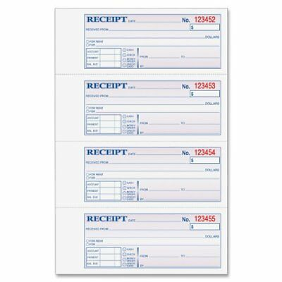 Adams Money and Rent Receipt Book, 3-Part, Carbonless, White/Canary/Pink,7 New
