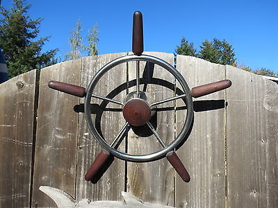 AUTHENTIC 18 inch STAINLESS STEEL WOOD BOAT SHIPS WHEEL SAILBOAT DECOR (#1858)