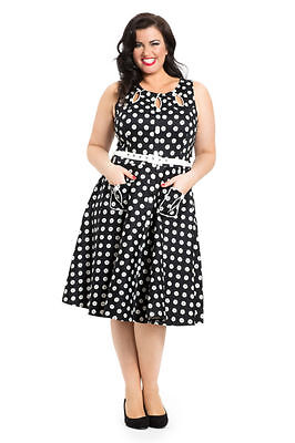 VOODOO VIXEN PIN UP 50/'S POLKA DOT SECRETARY SKIRT ROCKABILLY PENCIL SKA3149