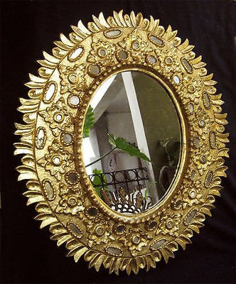 ANTIQUE BIG WONDERFUL HAND CARVED GILT WOOD MIRROR 19thC