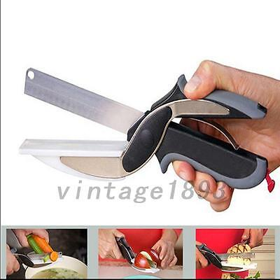 1PC Stainless Steel Multifunction Cutter & Cutting Board Scissor Kitchen Gadgets