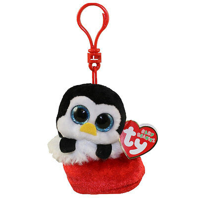 TY Holiday Baby - EARMUFFS the Penguin (2016) (key clip - 3.5 inch) - MWMTs