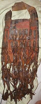"""Authentic African Tuareg Leather Shoulder BAG POUCH 11.5"""" Handmade, Worn,"""