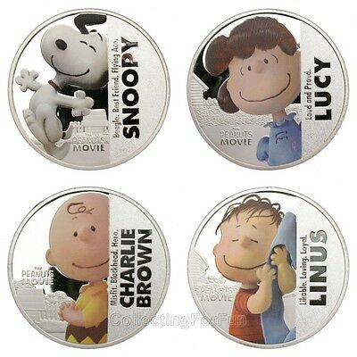 Snoopy Peanuts Cartoon Colored Silver Plated Commemorative 4-Coin Token