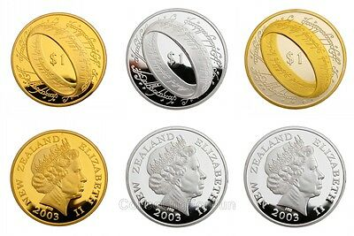 3-Coin Set of The Lord of the Rings 24K Gold & Silver Plated Souvenir Tokens