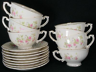 "SYRACUSE china STANSBURY pattern CUP & SAUCER Set Cup 2-1/4"" SET OF EIGHT (8)"