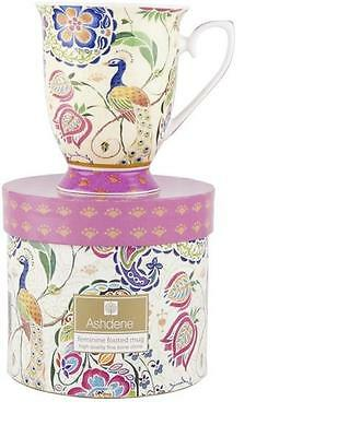 Peacock Fantasy Pink Paisley Ashdene Bone China Footed Mug Gift Boxed