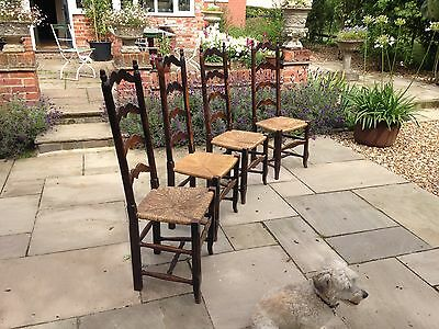 Set of four French beech ladder-back chairs mid 1900s