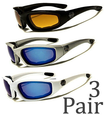 02c7c35513 3 PAIR Chopper Padded Foam Wind Resistant Sunglasses Motorcycle Riding Combo