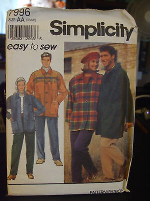 Simplicity 7996 Misses & Men's Pants & Unlined Coat Jacket Pattern - Size XS/S/M