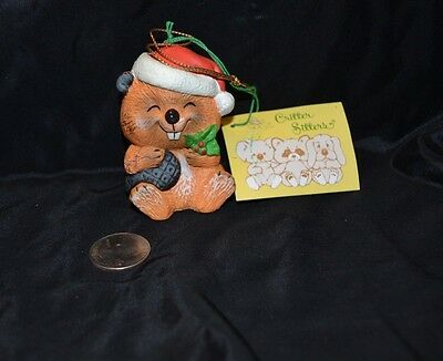 Vtg 1980's CRITTER SITTERS Holiday Hanging Ornament BEAVER Enesco Ceramic NWT